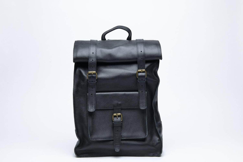 Robel Roll-Top Leather Backpack - Black