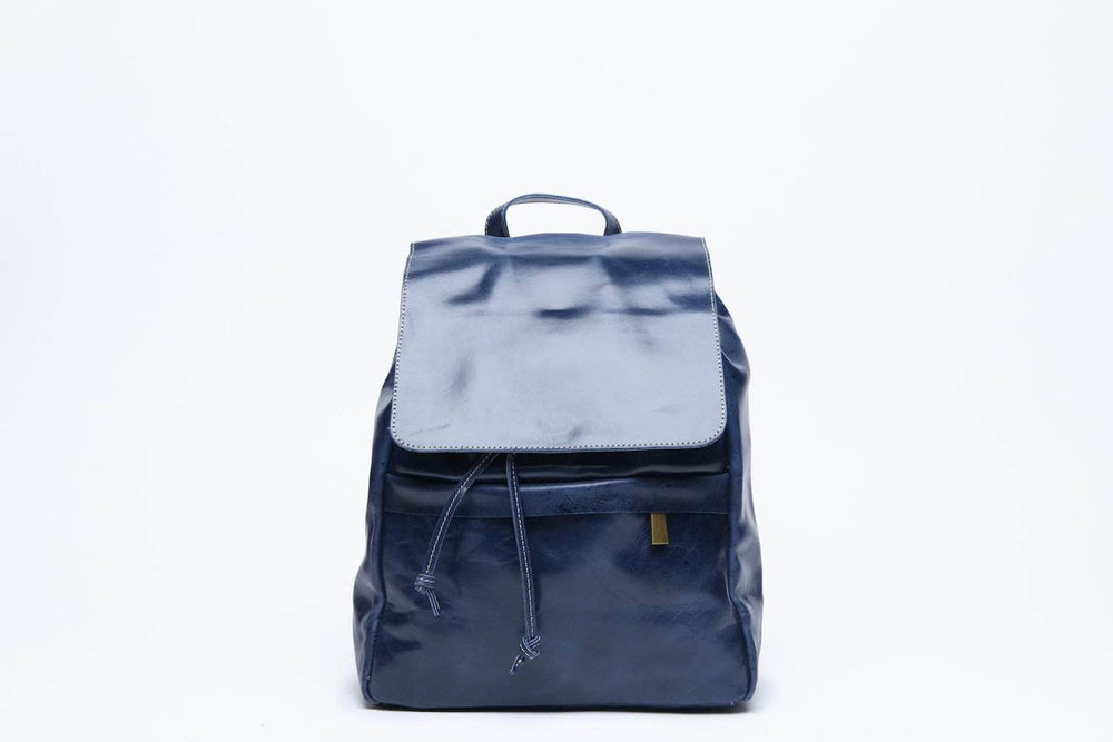 Enku Leather Backpack - Nile Blue