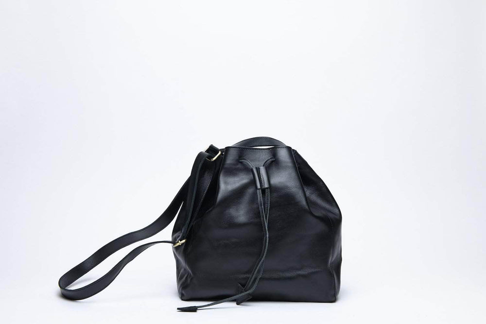 Konjo Leather Bucket Bag - Black