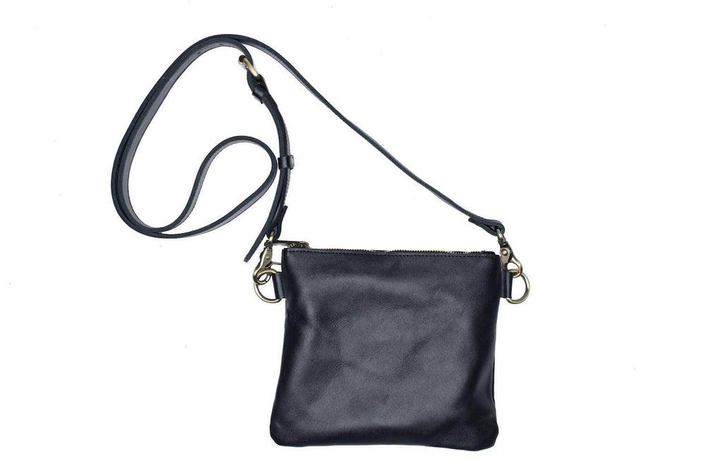 Amara Leather Crossbody - Black