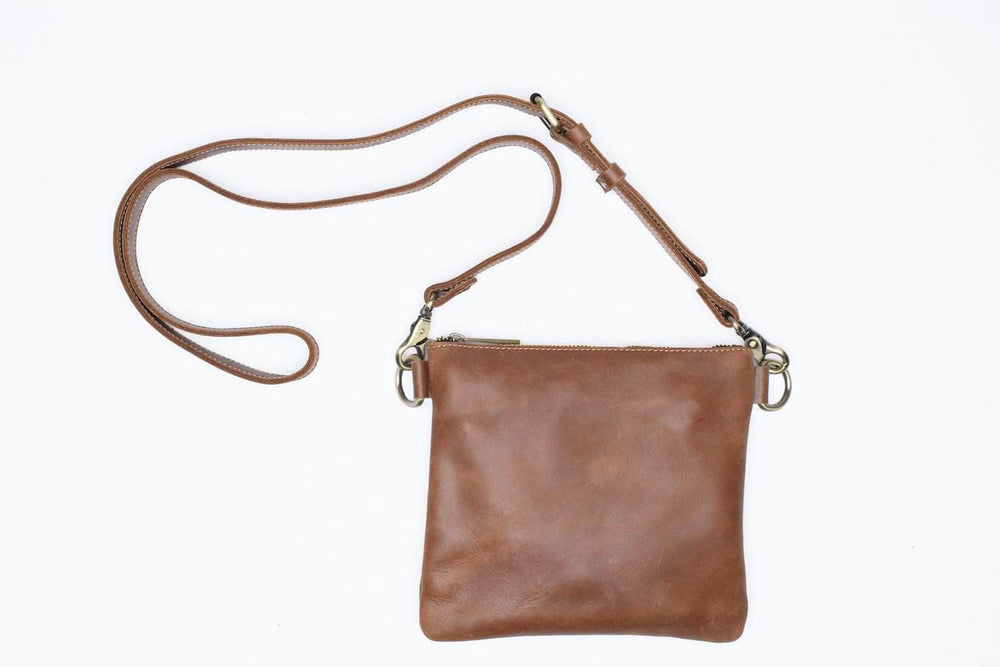 Amara Leather Crossbody - Almond Brown