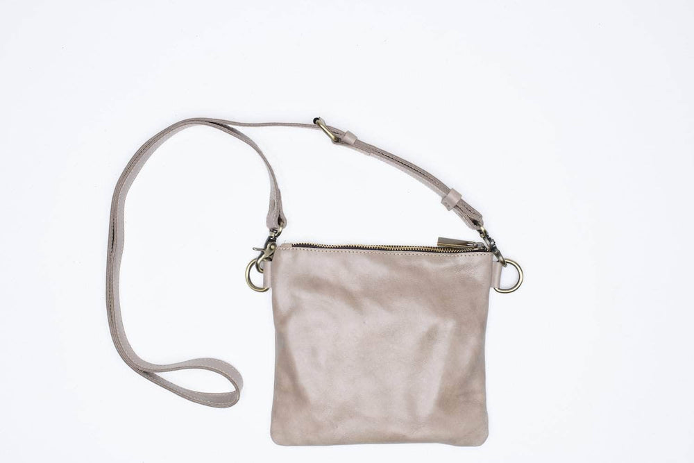 Amara Leather Crossbody - Light Grey