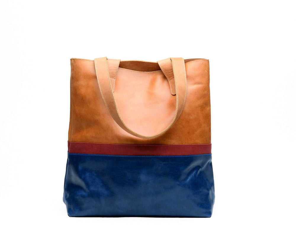 Colorblock Hanna Tote - Walnut