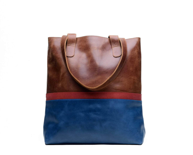 PRE-ORDER Colorblock Hanna Tote - Almond Brown - UnoEth