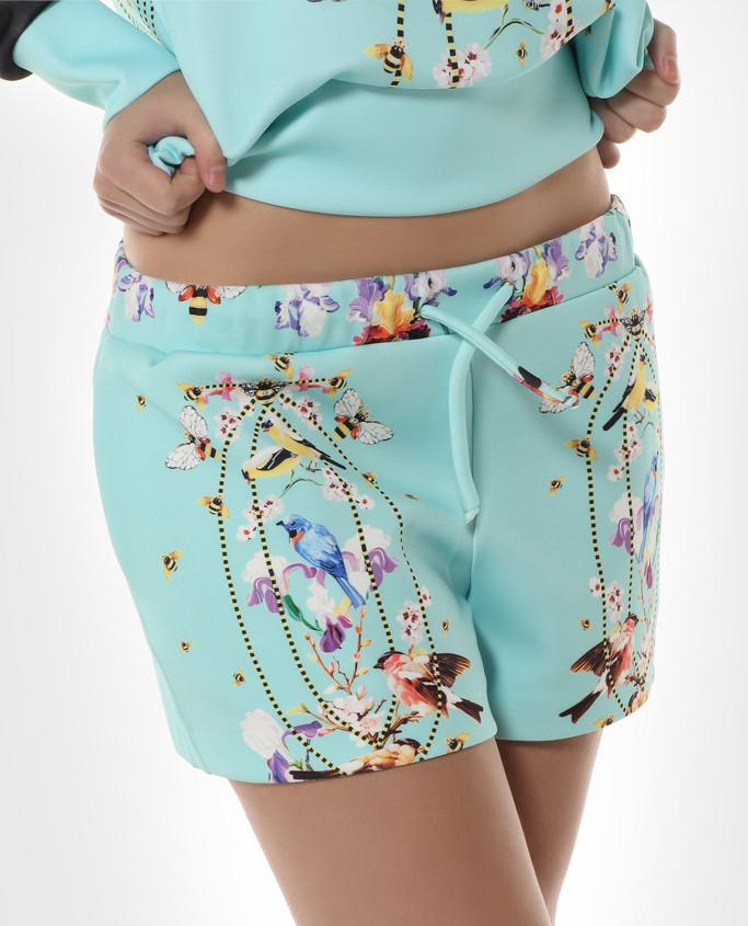 Torqouise Bee Printed Shorts - Sharp Closet - 1