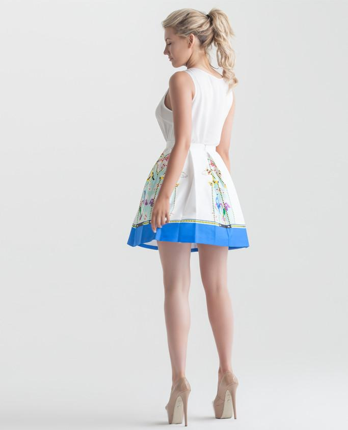 Queen Bee Print Box Pleated Skirt in Blue - Sharp Closet - 1