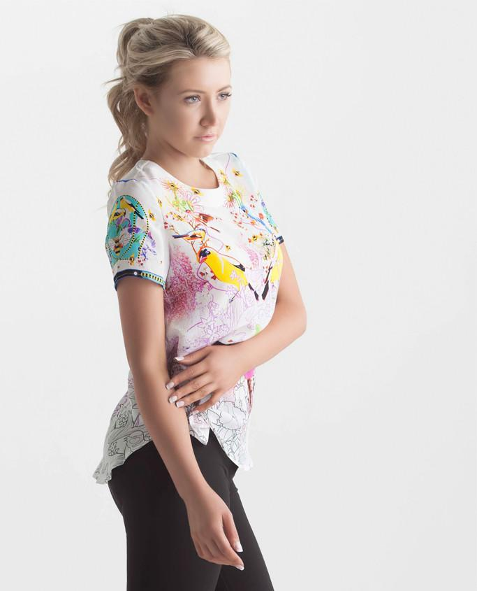 Multicoloured silk bird and flower print blouse - Sharp Closet - 1