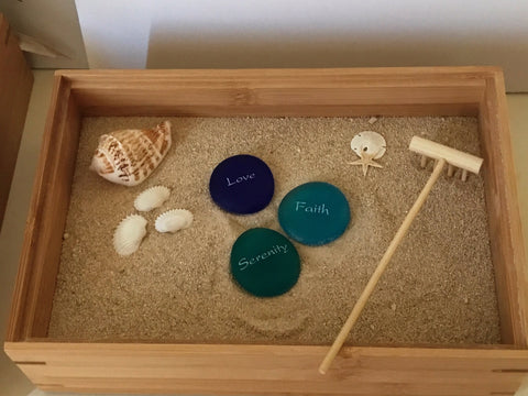 Sandbox with 3 Mermaid inspired stones
