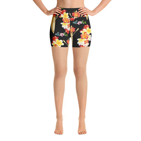 Hawaii Canoe Black Yoga Shorts