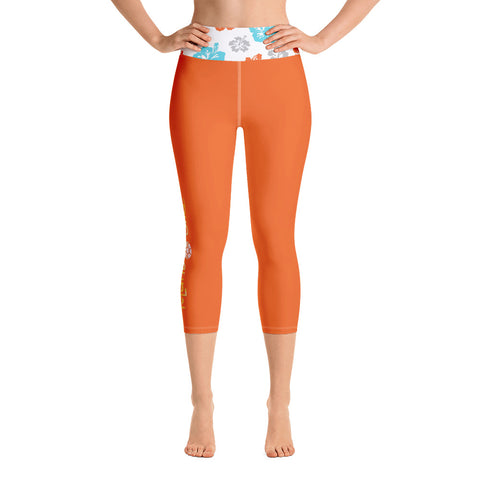 Island Girl Hibiscus Yoga Capri Leggings