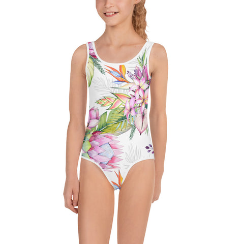 Chic Floral All-Over Print Kids Swimsuit