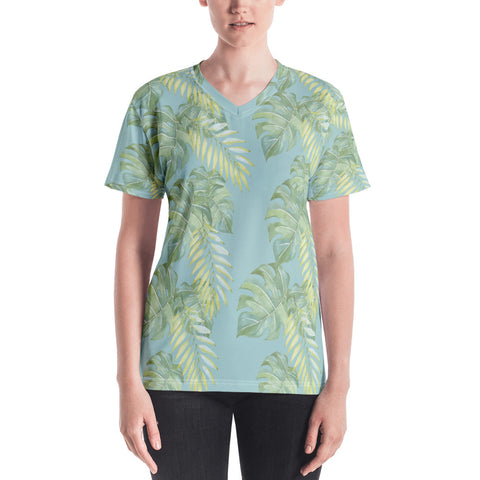 Hawaii Monstera and Palm Women's V-neck