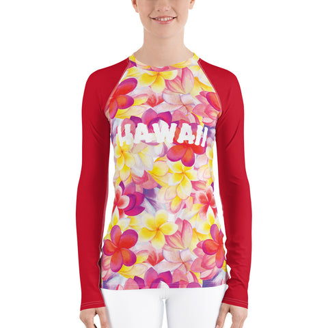 Hawaii Plumeria Women's Rash Guard
