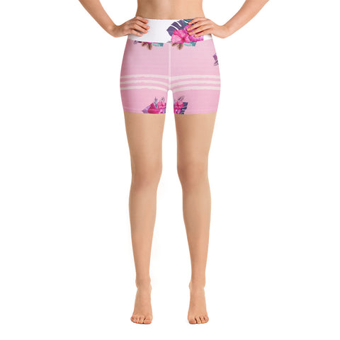 Pink Flowers Yoga Shorts