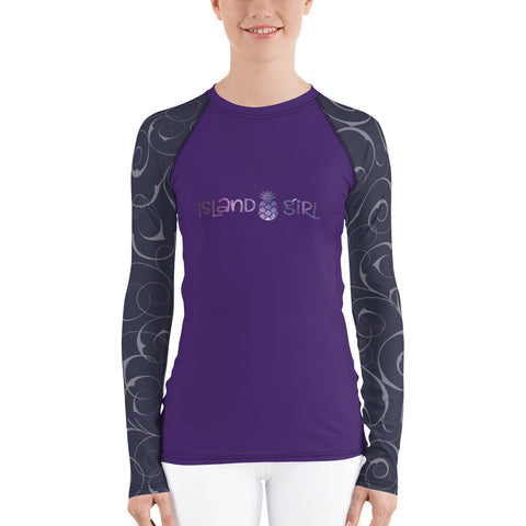 Island Girl Purple Women's Rash Guard