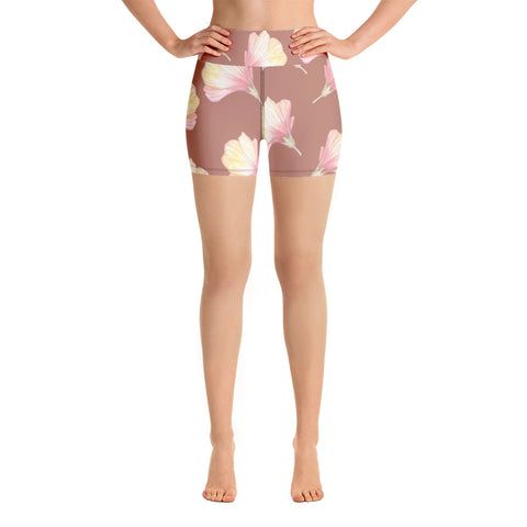 Hibiscus at Dusk Yoga Shorts