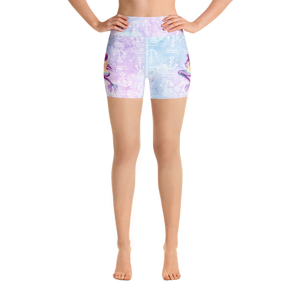 Mermaid and Shells Yoga Shorts