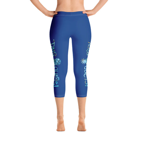 Island Girl - Blue Capri Leggings