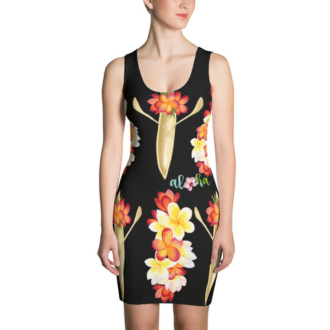 Canoe and Plumeria Stylish Aloha Women's Dress