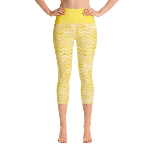 Island Girl Yellow Yoga Capri Leggings