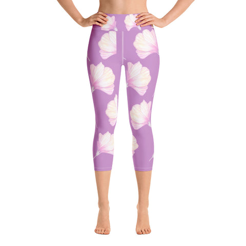 Hibiscus Bud Yoga Capri Leggings