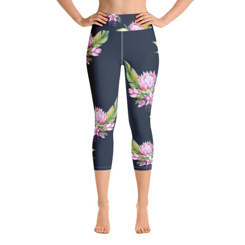 Pink Protea Yoga Capri Leggings