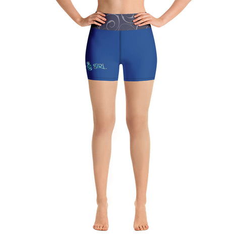 Island Girl Blue Yoga Shorts