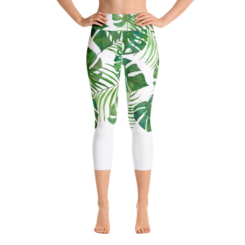 Monsterra and Palm Yoga Capri Leggings