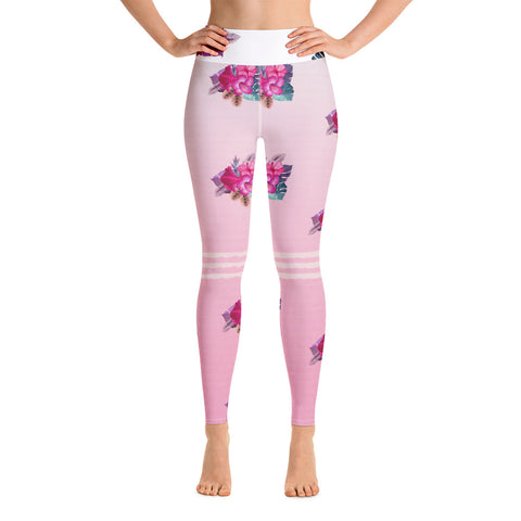 Pink Flowers Yoga Leggings