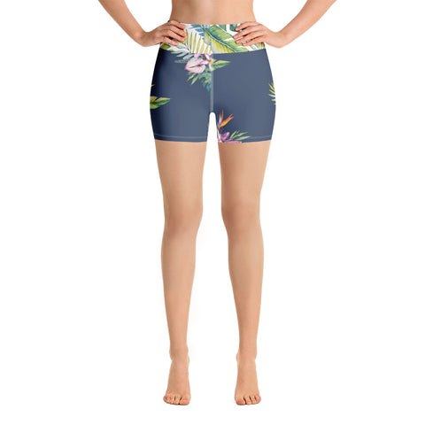 Tropical Hawaii Flowers Yoga Shorts