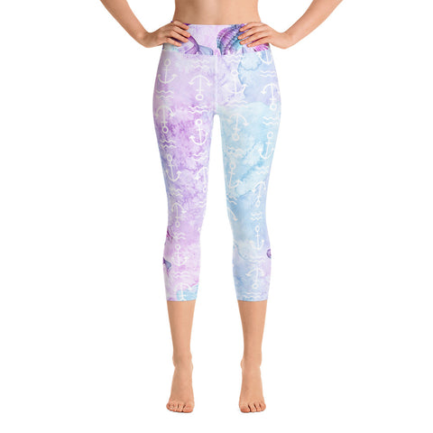 Mermaid and Shells Yoga Capri Leggings