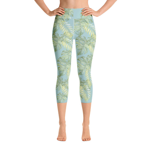 Monstera Palm Leaves All-Over Print Yoga Capri Leggings