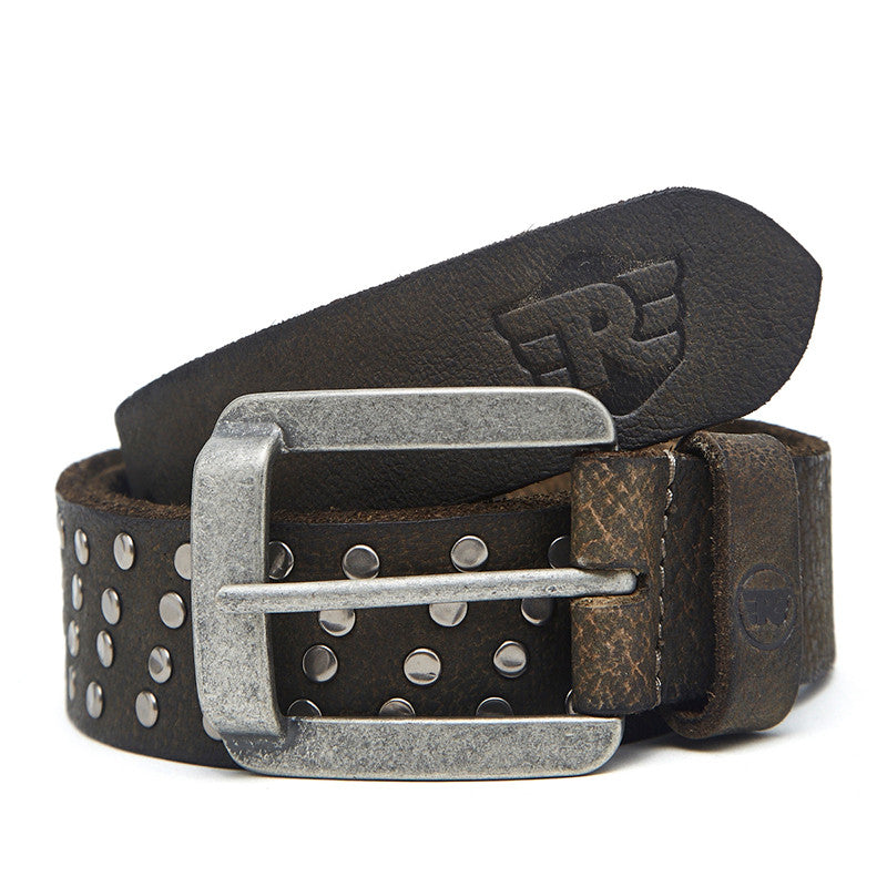 Leather Belt With Ingots Olive
