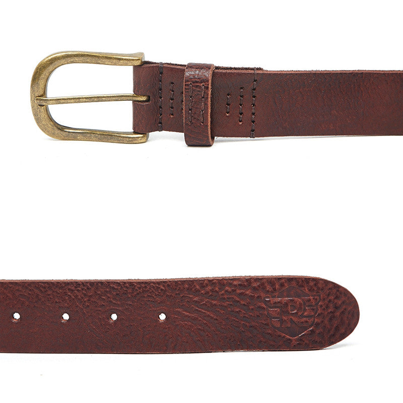 Washed Leather Belt Brown