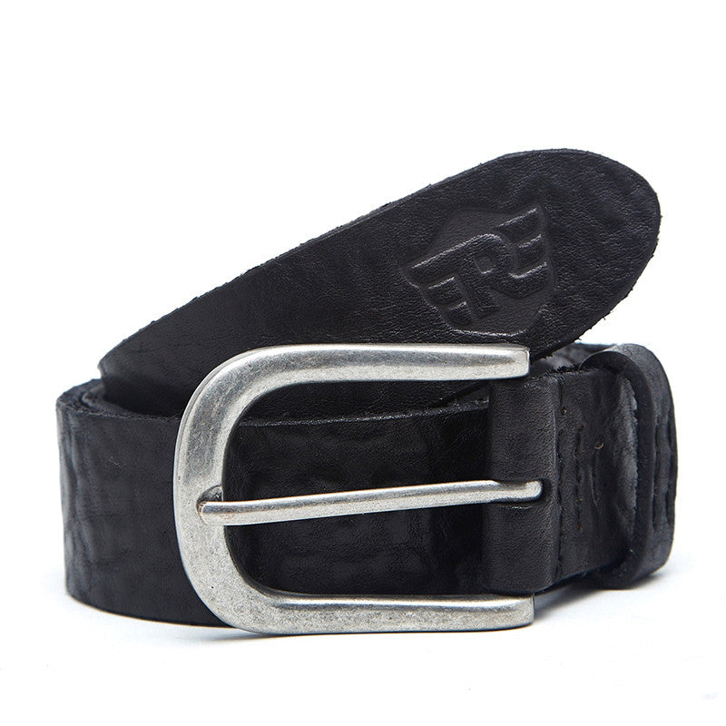 Washed Leather Belt Black
