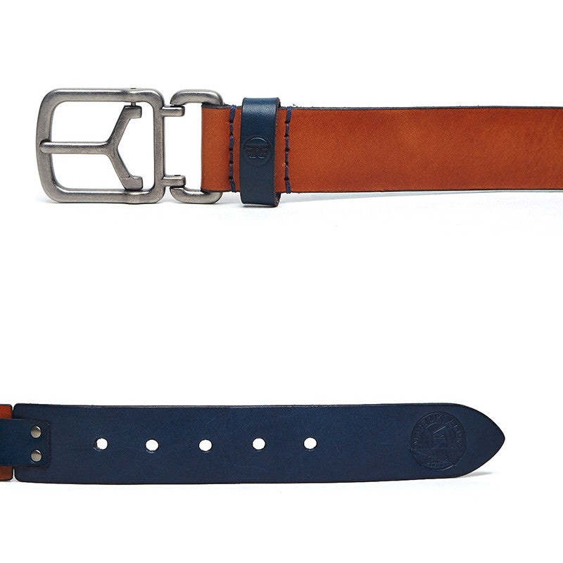 Contrast Coloured Leather Belt Tan Navy