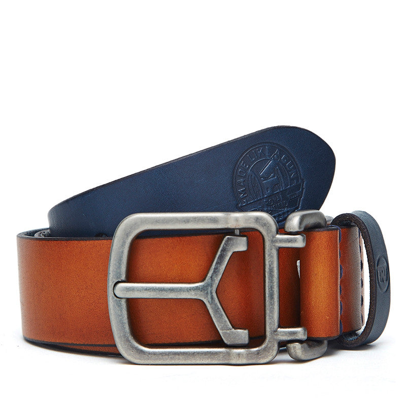 Contrast Coloured Leather Belt Tan Navy - Royal Enfield