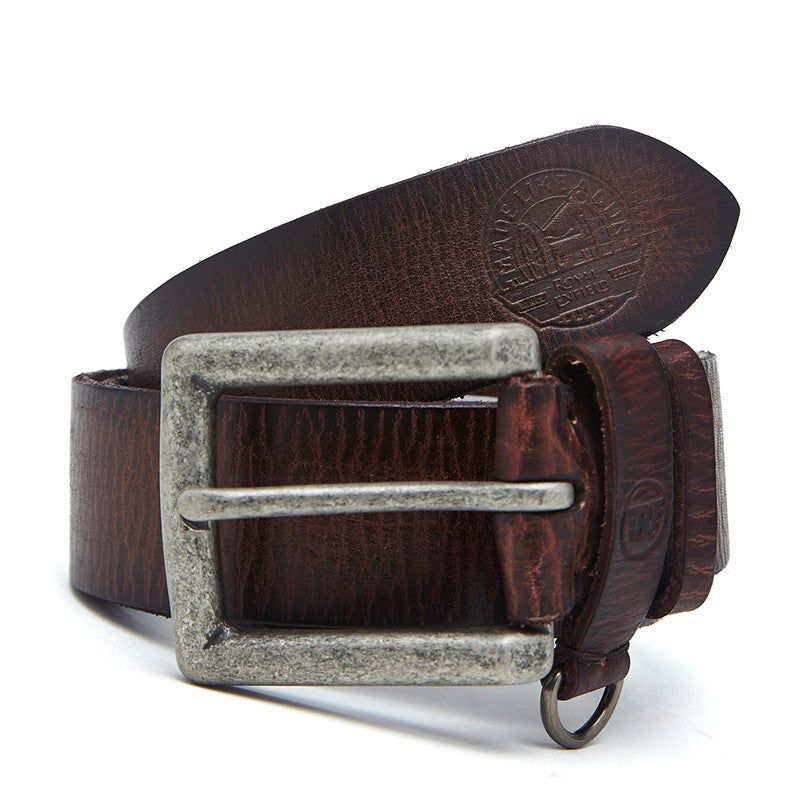 D-Ring keeper Leather Belt Brown