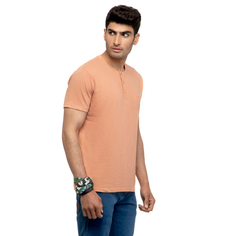 Henley T-Shirt-Peach