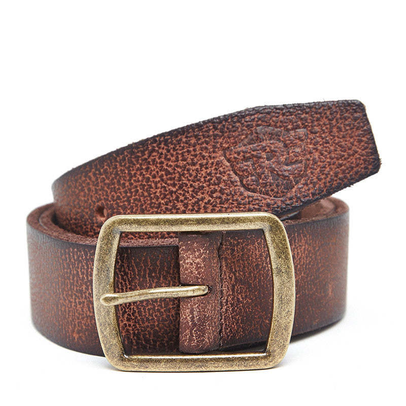 Distressed Edge Leather Belt Brown