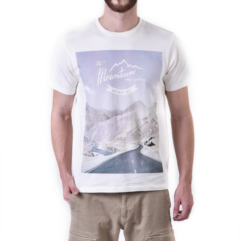 The Mountains Are Calling Graphic Tee White