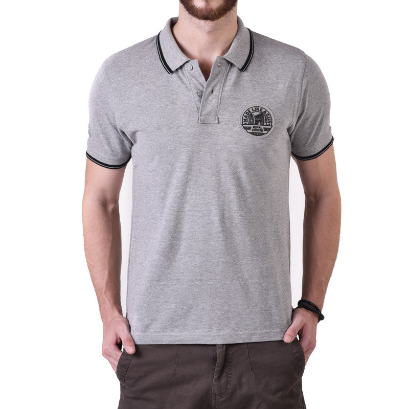 Pin Stripe Tipping Polo Tee Grey