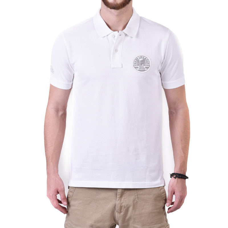 Pin Stripe Tipping Polo Tee White