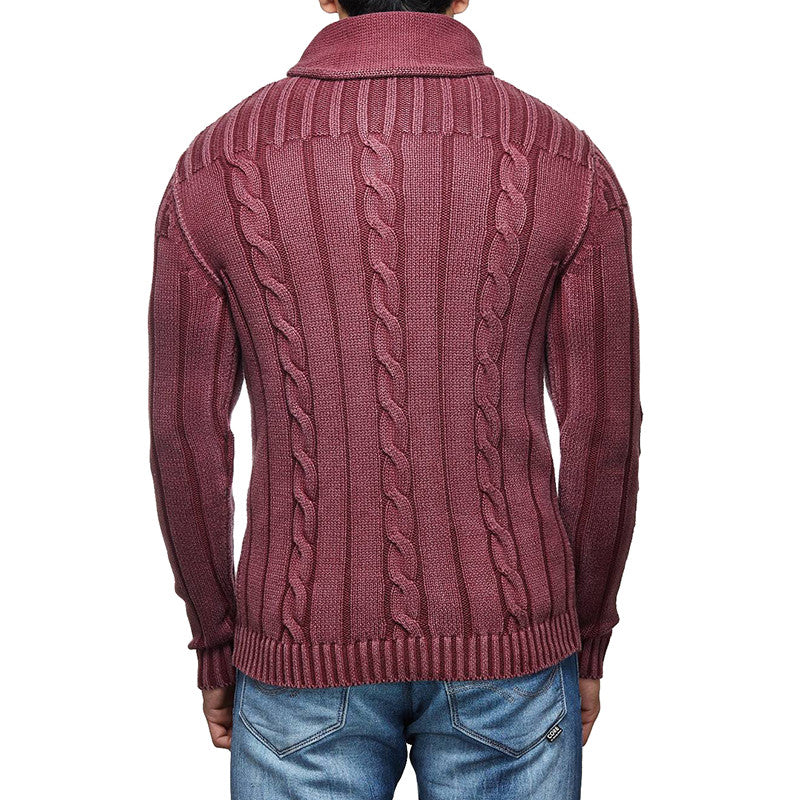 Cable Knit Sweater Wine - Royal Enfield