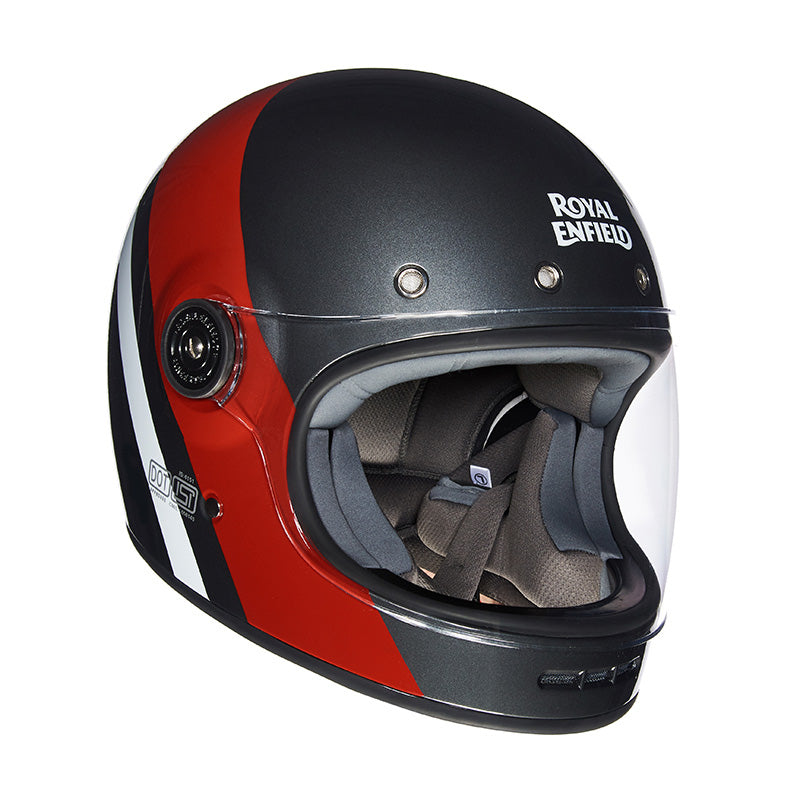 Drifter Helmet True Stripes Grey Red - Royal Enfield
