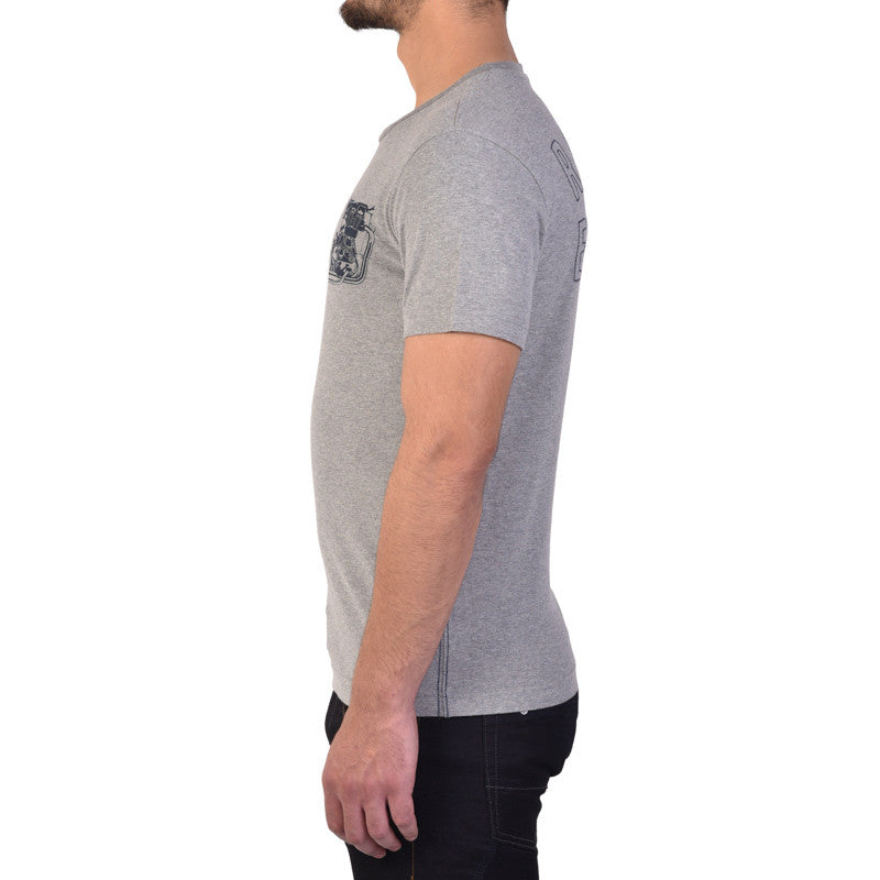 Logo Engine Graphic Tee Heather Grey - Royal Enfield