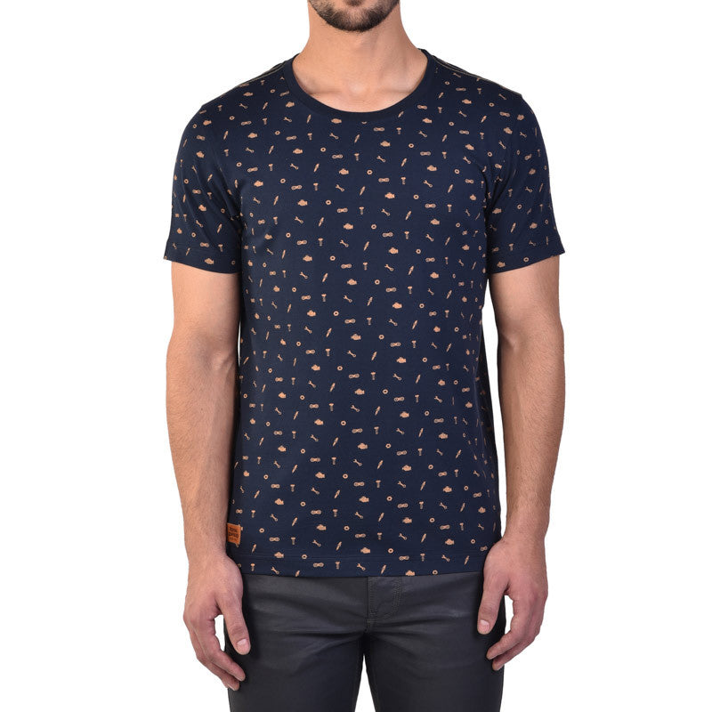 All Over Printed Tools Tee Navy - Royal Enfield