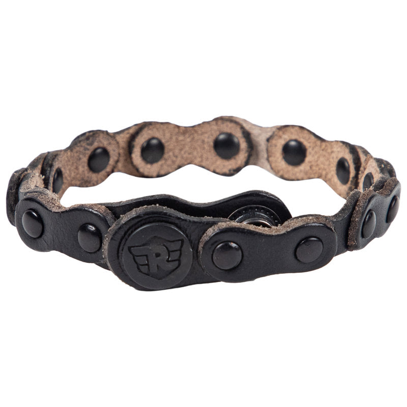 CHAIN LEATHER BRACELET - BLACK
