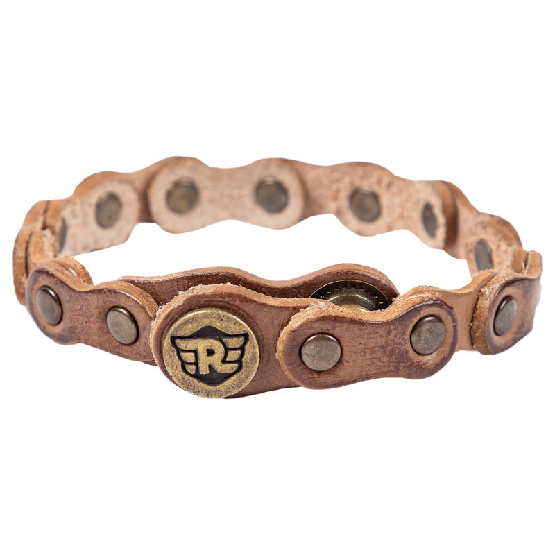 CHAIN LEATHER BRACELET - TAN