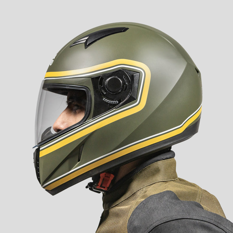 STREET BORDER STRIPE HELMET - BATTLE GREEN YELLOW